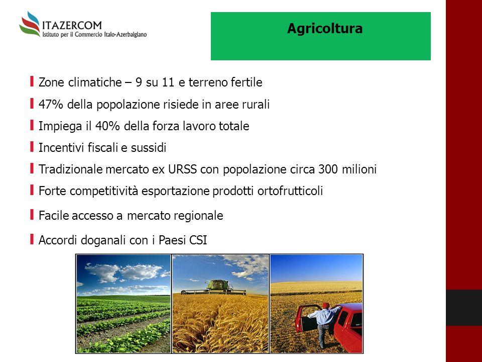 Agricoltura I Zone climatiche – 9 su 11 e terreno fertile I 47% della popolazione risiede in aree rurali I Impiega il 40% della forza lavoro totale I
