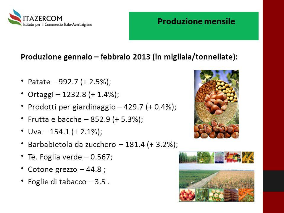 Produzione gennaio – febbraio 2013 (in migliaia/tonnellate): Patate – 992.7 (+ 2.5%); Ortaggi – 1232.8 (+ 1.4%); Prodotti per giardinaggio – 429.7 (+