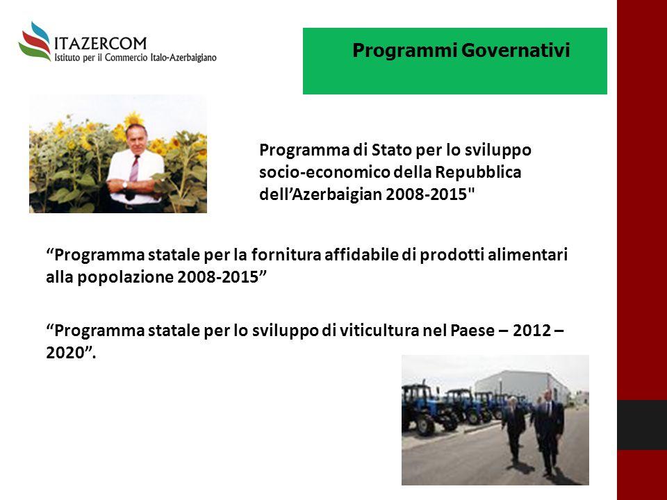 """""""Programma statale per la fornitura affidabile di prodotti alimentari alla popolazione 2008-2015"""" """"Programma statale per lo sviluppo di viticultura ne"""