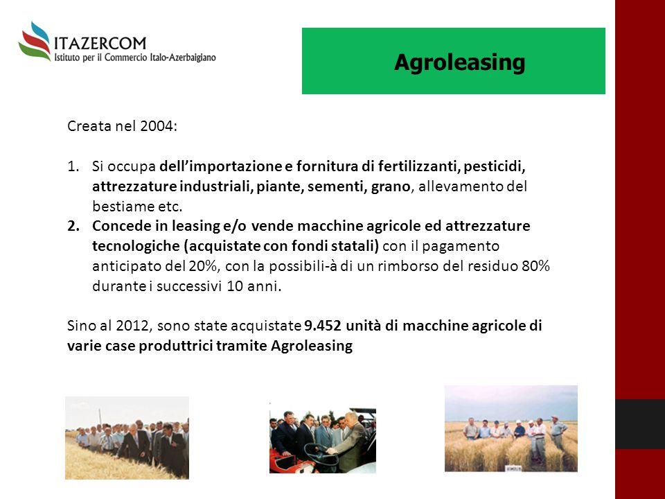 Agroleasing Creata nel 2004: 1.Si occupa dell'importazione e fornitura di fertilizzanti, pesticidi, attrezzature industriali, piante, sementi, grano,