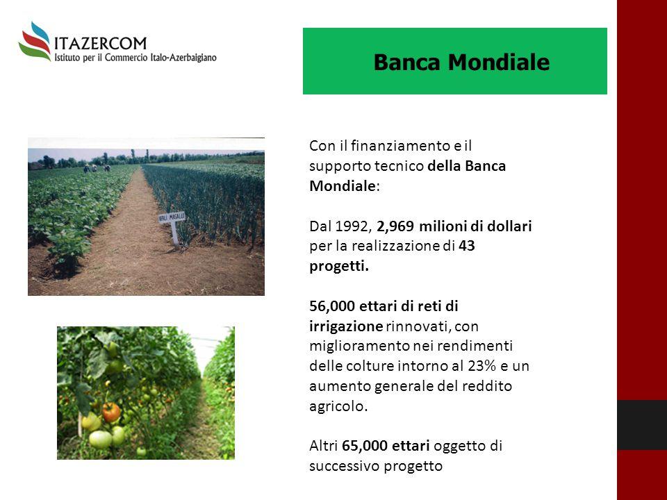Banca Mondiale Con il finanziamento e il supporto tecnico della Banca Mondiale: Dal 1992, 2,969 milioni di dollari per la realizzazione di 43 progetti
