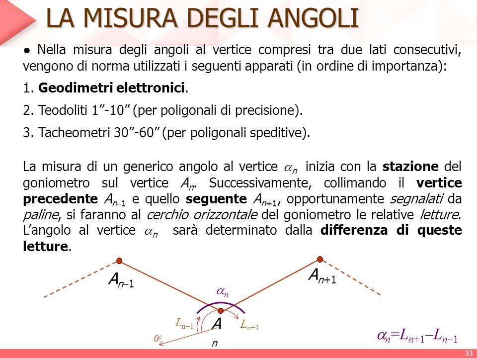 LA MISURA DEGLI ANGOLI ● Nella misura degli angoli al vertice compresi tra due lati consecutivi, vengono di norma utilizzati i seguenti apparati (in o