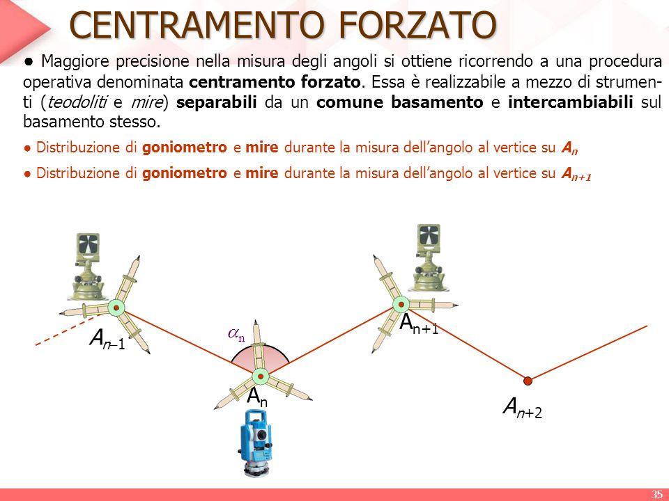 CENTRAMENTO FORZATO ● Maggiore precisione nella misura degli angoli si ottiene ricorrendo a una procedura operativa denominata centramento forzato. Es