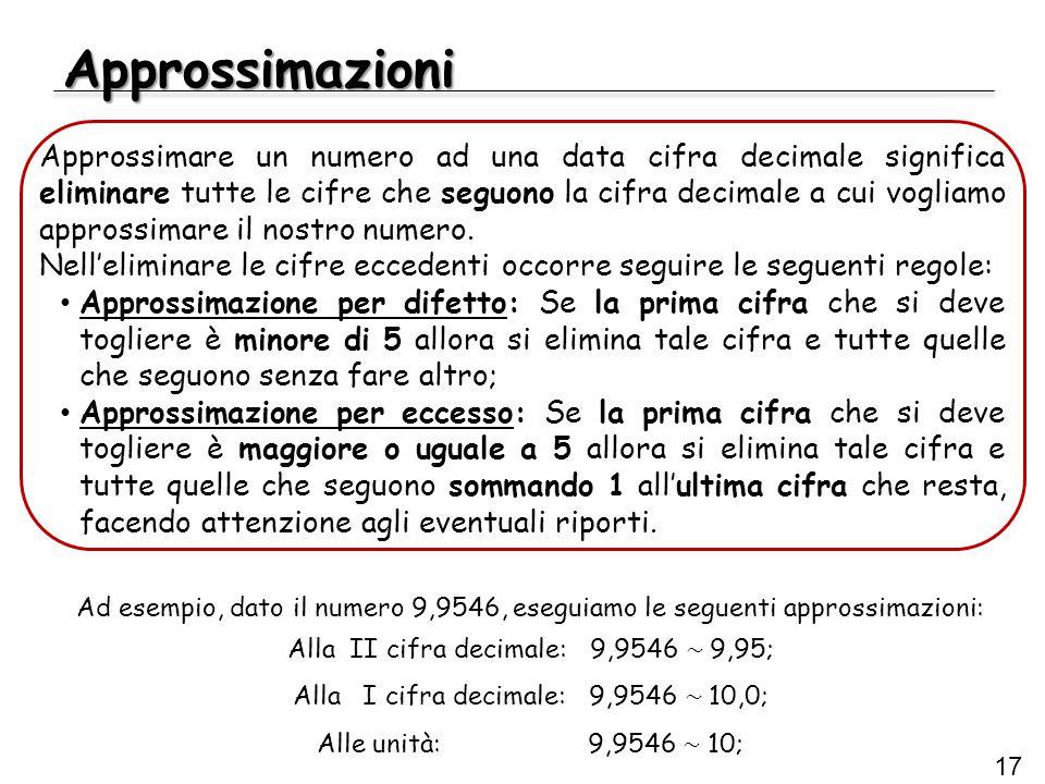 Approssimazioni 17 Ad esempio, dato il numero 9,9546, eseguiamo le seguenti approssimazioni: Alla II cifra decimale: 9,9546 ~ 9,95; Alla I cifra decim