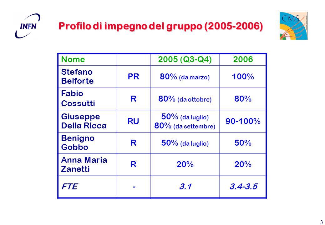 3 Profilo di impegno del gruppo (2005-2006) Nome2005 (Q3-Q4)2006 Stefano Belforte PR80% (da marzo) 100% Fabio Cossutti R80% (da ottobre) 80% Giuseppe Della Ricca RU 50% (da luglio) 80% (da settembre) 90-100% Benigno Gobbo R50% (da luglio) 50% Anna Maria Zanetti R20% FTE-3.13.4-3.5