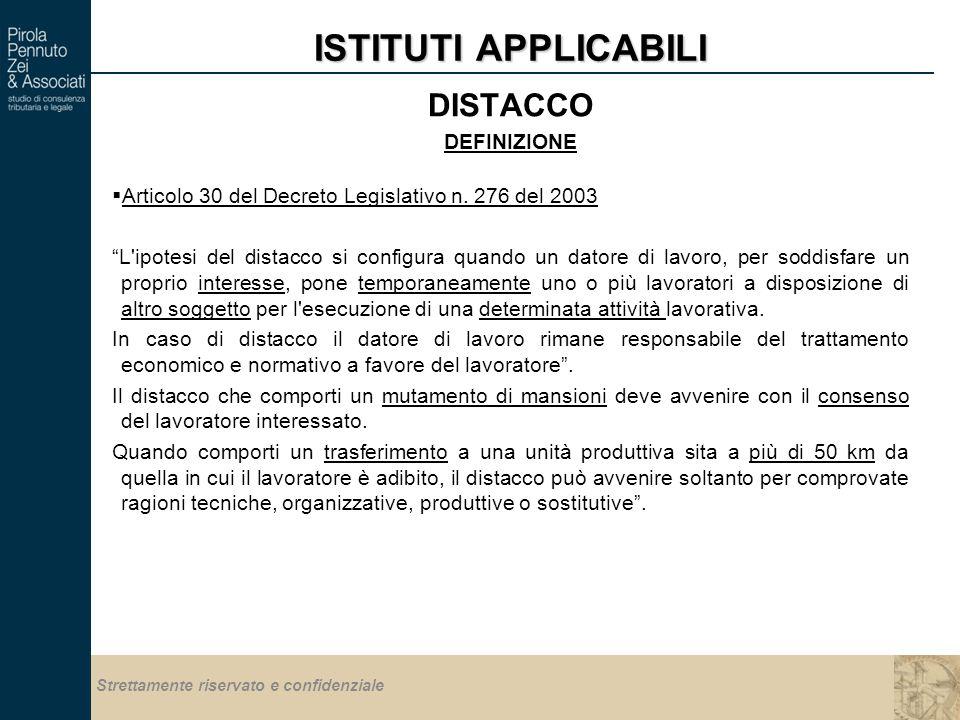 Strettamente riservato e confidenziale ISTITUTI APPLICABILI DISTACCO DEFINIZIONE  Articolo 30 del Decreto Legislativo n.