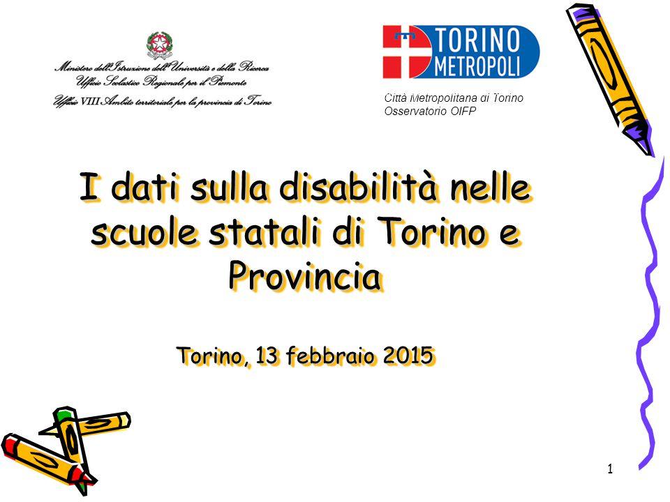 1 I dati sulla disabilità nelle scuole statali di Torino e Provincia Torino, 13 febbraio 2015 Città Metropolitana di Torino Osservatorio OIFP