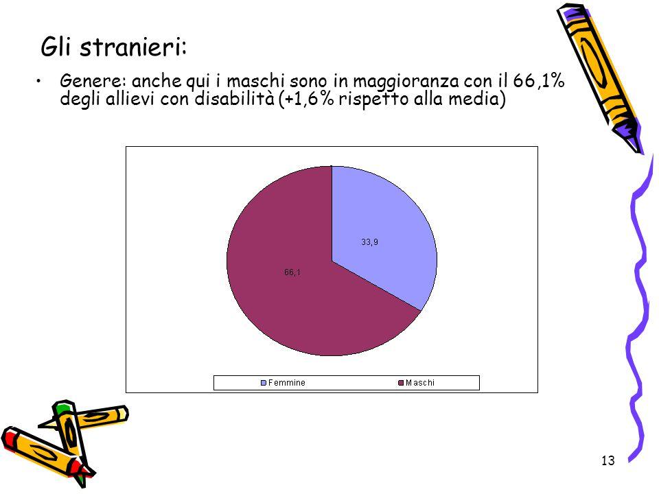 13 Genere: anche qui i maschi sono in maggioranza con il 66,1% degli allievi con disabilità (+1,6% rispetto alla media) Gli stranieri: