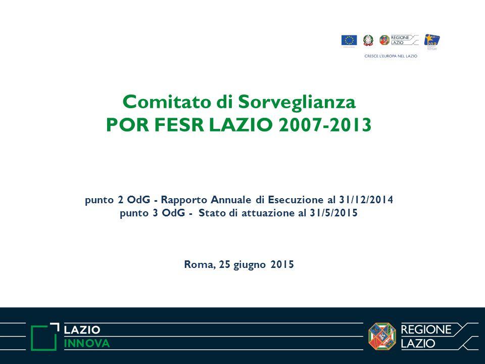 Comitato di Sorveglianza POR FESR LAZIO 2007-2013 punto 2 OdG - Rapporto Annuale di Esecuzione al 31/12/2014 punto 3 OdG - Stato di attuazione al 31/5