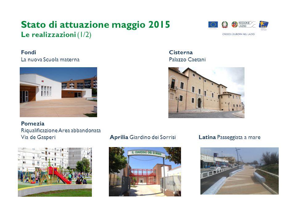 Stato di attuazione maggio 2015 Le realizzazioni (1/2) FondiCisterna La nuova Scuola maternaPalazzo Caetani Pomezia Riqualificazione Area abbandonata