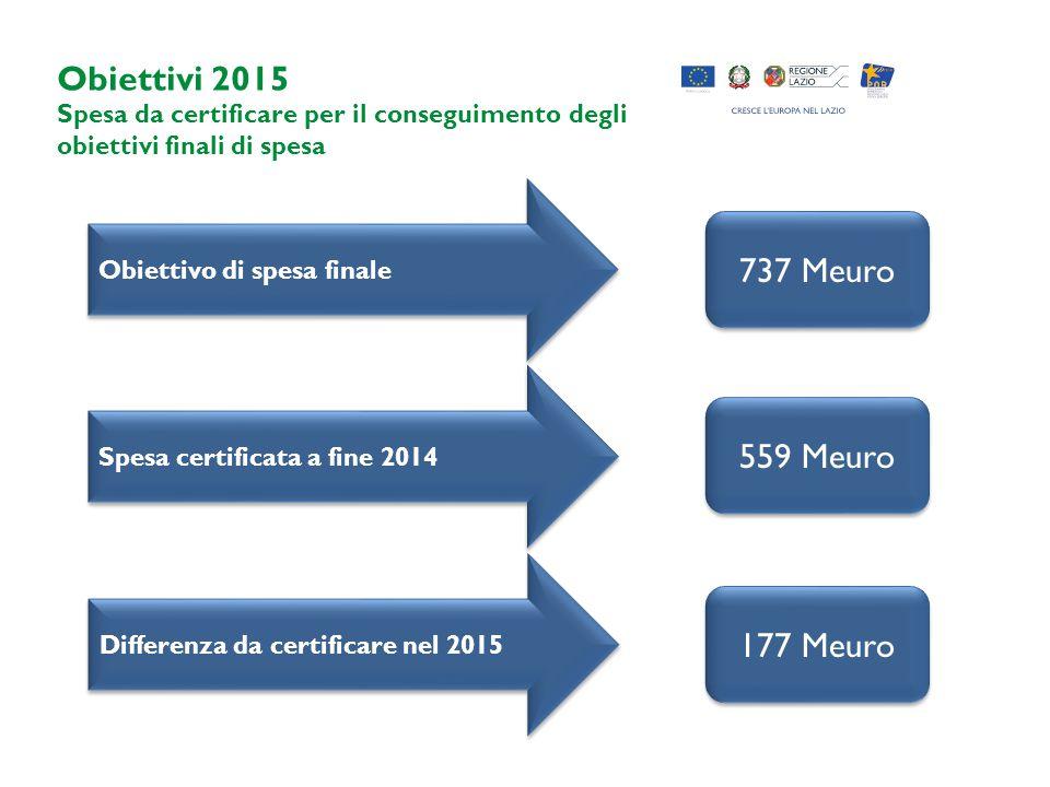 Obiettivi 2015 Spesa da certificare per il conseguimento degli obiettivi finali di spesa Obiettivo di spesa finale Spesa certificata a fine 2014 737 Meuro 559 Meuro 177 Meuro Differenza da certificare nel 2015