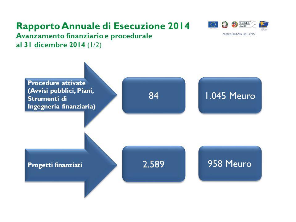 Rapporto Annuale di Esecuzione 2014 Avanzamento finanziario e procedurale al 31 dicembre 2014 (1/2) Procedure attivate (Avvisi pubblici, Piani, Strumenti di Ingegneria finanziaria) Progetti finanziati 1.045 Meuro 958 Meuro 84 2.589