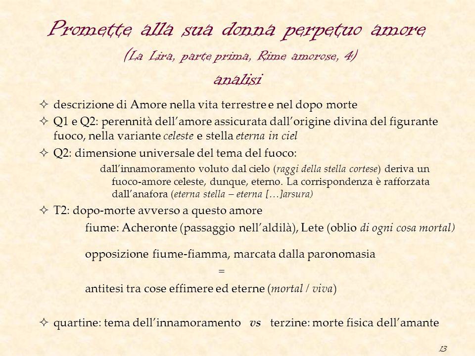 13 Promette alla sua donna perpetuo amore ( La Lira, parte prima, Rime amorose, 4) analisi  descrizione di Amore nella vita terrestre e nel dopo mort