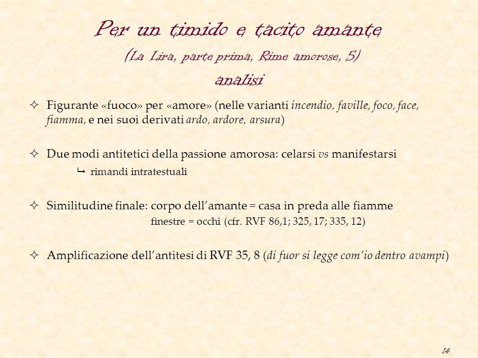 14 Per un timido e tacito amante ( La Lira, parte prima, Rime amorose, 5) analisi  Figurante «fuoco» per «amore» (nelle varianti incendio, faville, f