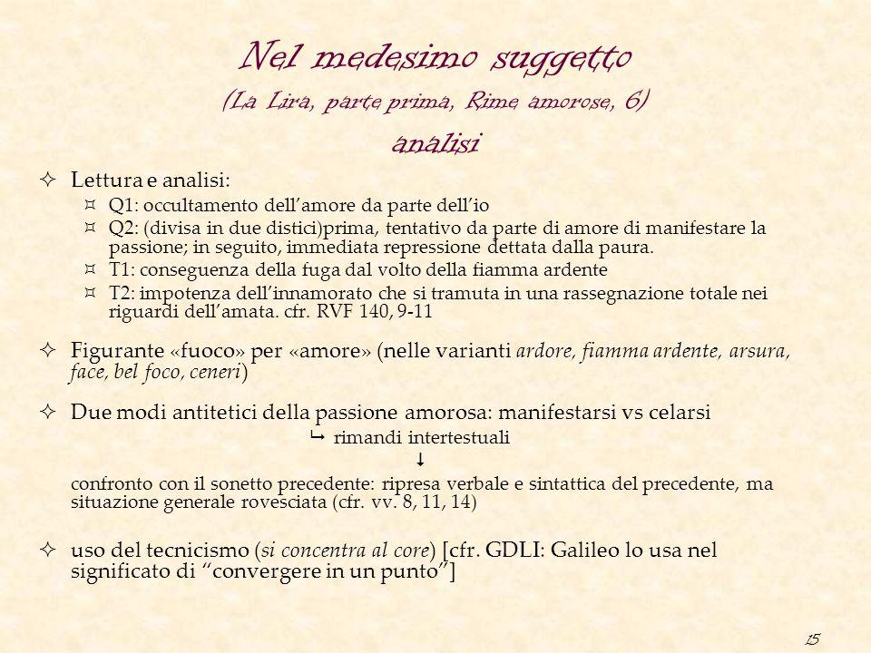 15 Nel medesimo suggetto (La Lira, parte prima, Rime amorose, 6) analisi  Lettura e analisi:  Q1: occultamento dell'amore da parte dell'io  Q2: (di