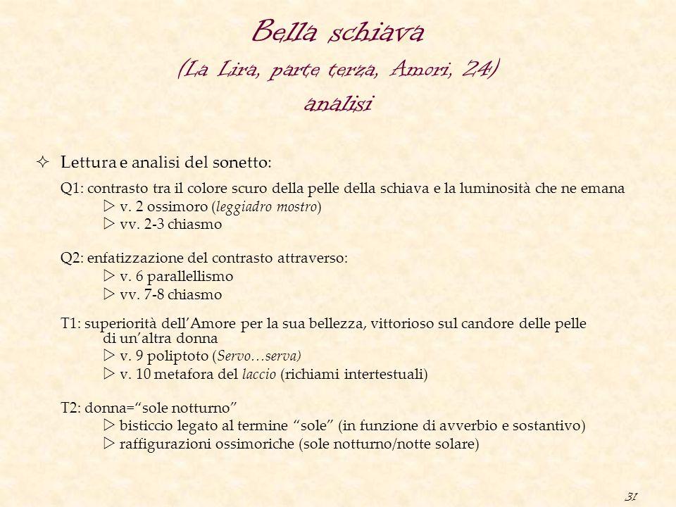 31 Bella schiava (La Lira, parte terza, Amori, 24) analisi  Lettura e analisi del sonetto: Q1: contrasto tra il colore scuro della pelle della schiav
