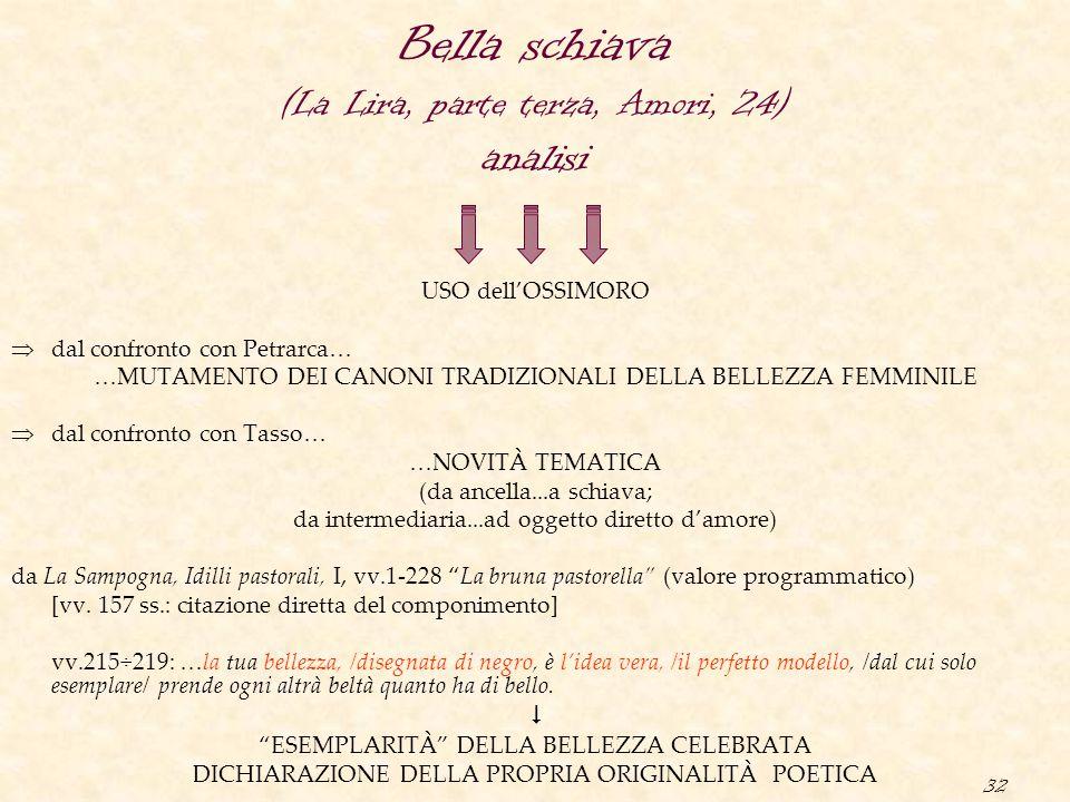 32 USO dell'OSSIMORO  dal confronto con Petrarca… …MUTAMENTO DEI CANONI TRADIZIONALI DELLA BELLEZZA FEMMINILE  dal confronto con Tasso… …NOVITÀ TEMA