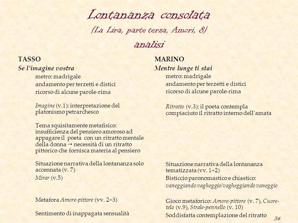 34 Lontananza consolata (La Lira, parte terza, Amori, 8) analisi TASSO Se l'imagine vostra metro: madrigale andamento per terzetti e distici ricorso d
