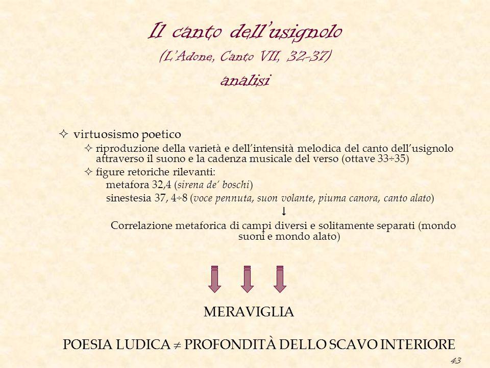 43 Il canto dell'usignolo (L'Adone, Canto VII, 32-37) analisi  virtuosismo poetico  riproduzione della varietà e dell'intensità melodica del canto d