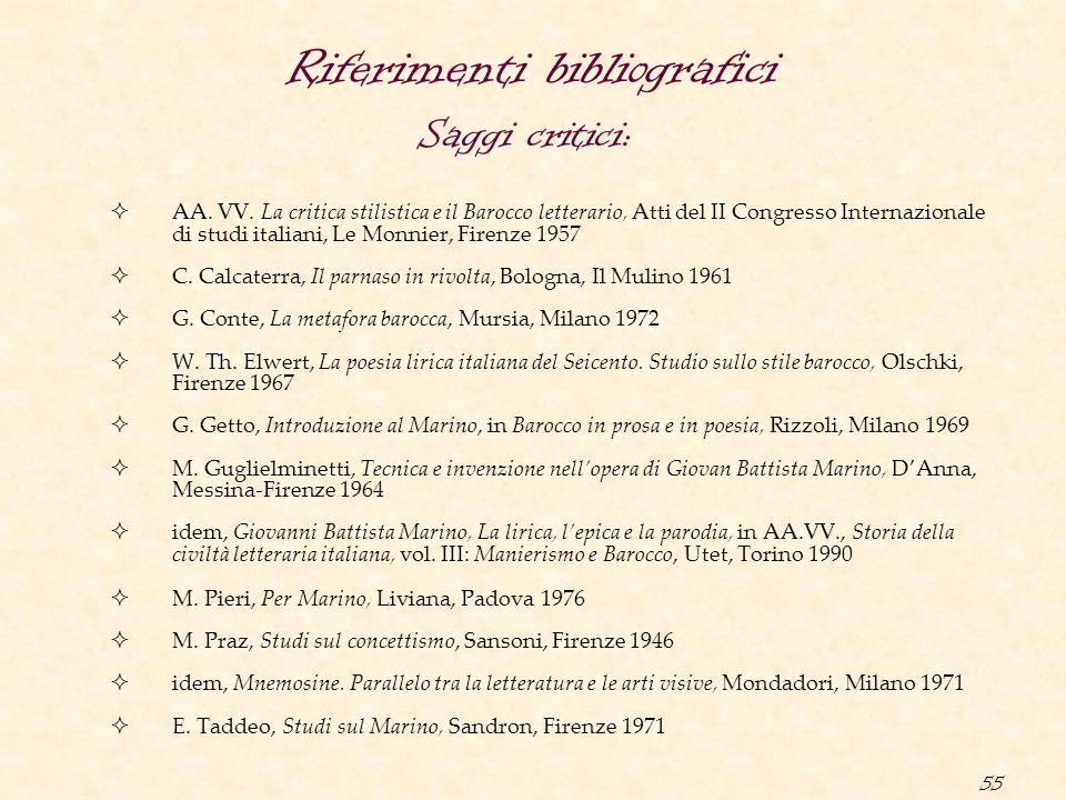 55 Riferimenti bibliografici  AA. VV. La critica stilistica e il Barocco letterario, Atti del II Congresso Internazionale di studi italiani, Le Monni