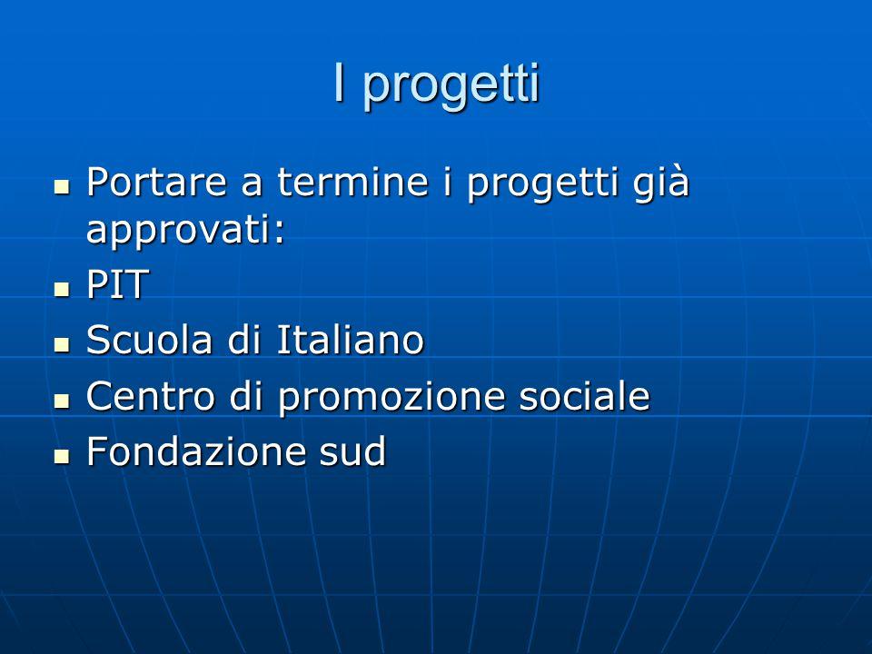 I progetti Portare a termine i progetti già approvati: Portare a termine i progetti già approvati: PIT PIT Scuola di Italiano Scuola di Italiano Centr