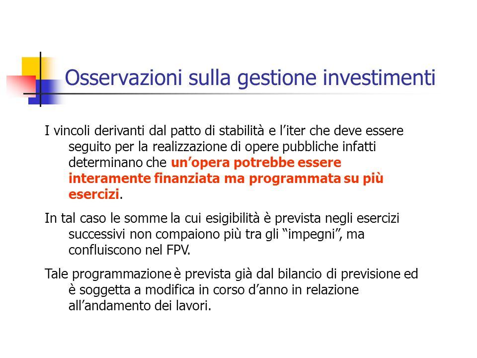 Osservazioni sulla gestione investimenti I vincoli derivanti dal patto di stabilità e l'iter che deve essere seguito per la realizzazione di opere pub