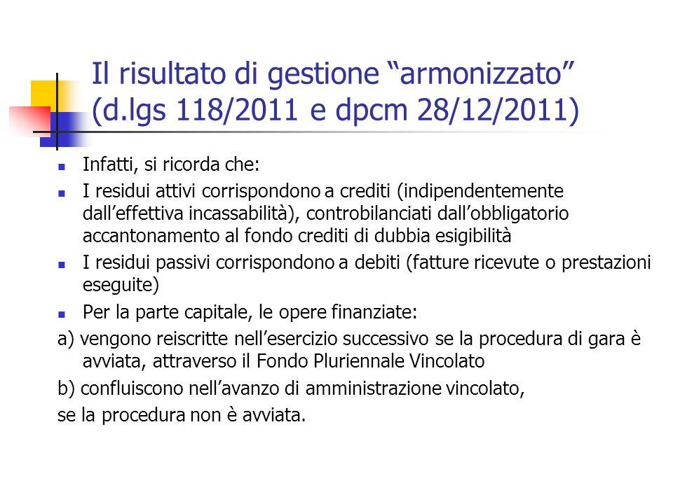 """Il risultato di gestione """"armonizzato"""" (d.lgs 118/2011 e dpcm 28/12/2011) Infatti, si ricorda che: I residui attivi corrispondono a crediti (indipende"""