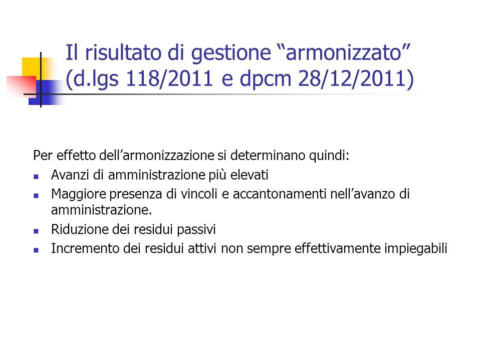 Il risultato di gestione armonizzato (d.lgs 118/2011 e dpcm 28/12/2011) Per effetto dell'armonizzazione si determinano quindi: Avanzi di amministrazione più elevati Maggiore presenza di vincoli e accantonamenti nell'avanzo di amministrazione.
