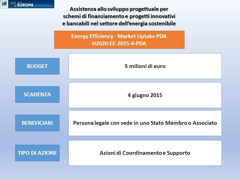 Energy Efficiency - Market Uptake PDA H2020-EE-2015-4-PDA Assistenza allo sviluppo progettuale per schemi di finanziamento e progetti innovativi e ban