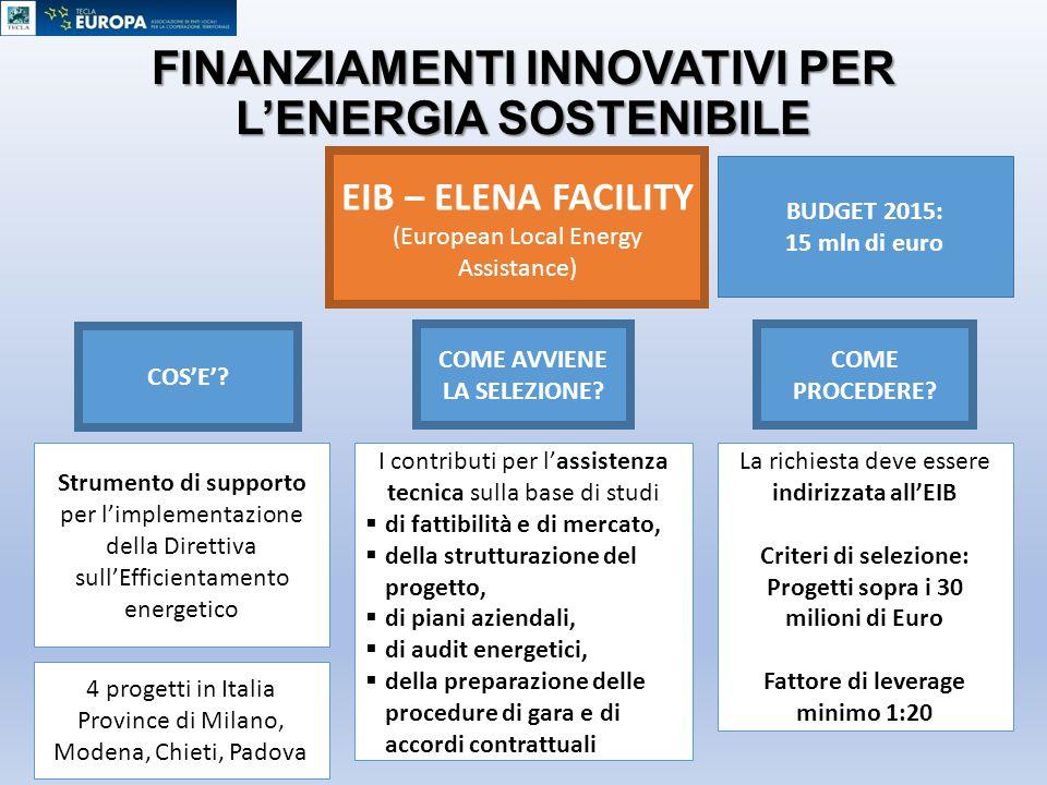 FINANZIAMENTI INNOVATIVI PER L'ENERGIA SOSTENIBILE EIB – ELENA FACILITY (European Local Energy Assistance) Strumento di supporto per l'implementazione