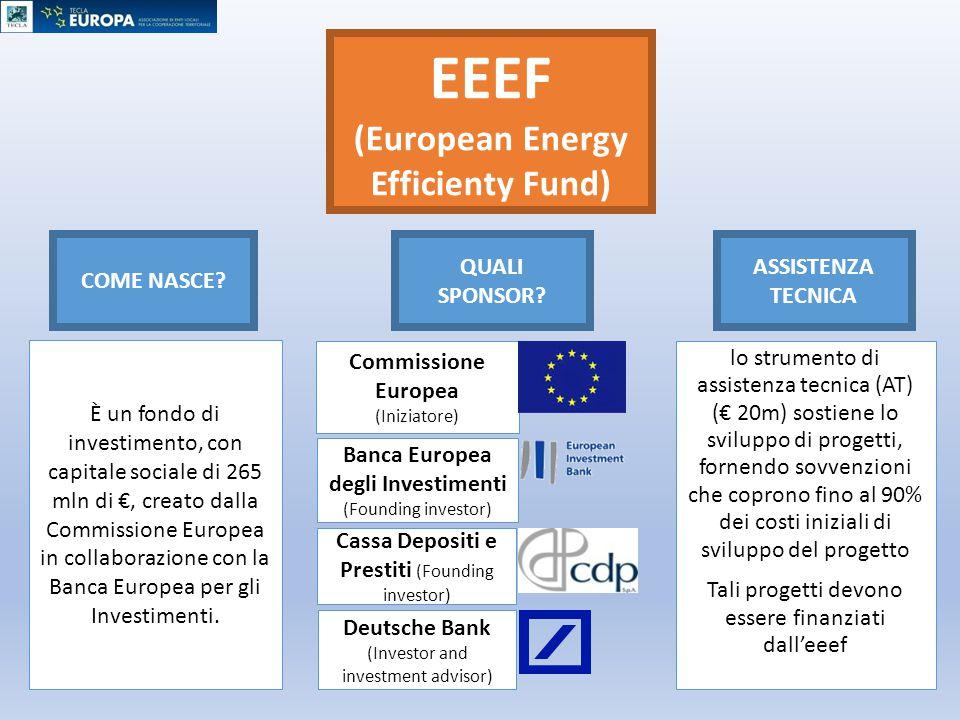 EEEF (European Energy Efficienty Fund) È un fondo di investimento, con capitale sociale di 265 mln di €, creato dalla Commissione Europea in collabora