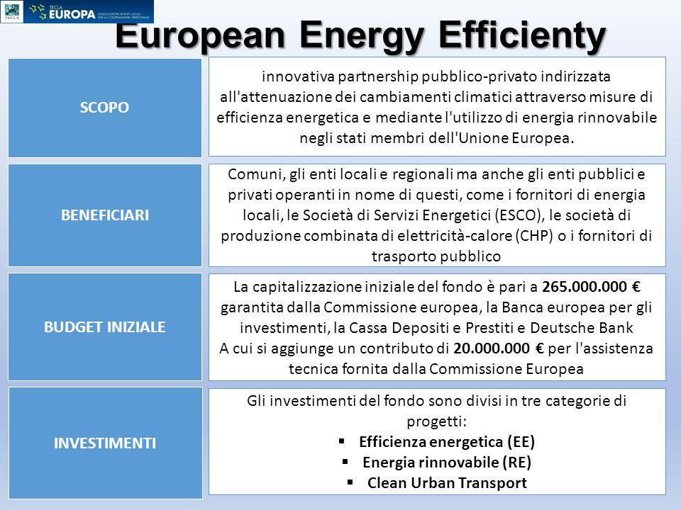 European Energy Efficienty Fund BUDGET INIZIALE BENEFICIARI SCOPO INVESTIMENTI innovativa partnership pubblico-privato indirizzata all'attenuazione de