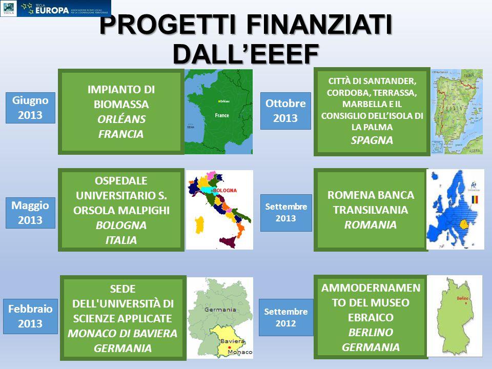 PROGETTI FINANZIATI DALL'EEEF IMPIANTO DI BIOMASSA ORLÉANS FRANCIA OSPEDALE UNIVERSITARIO S. ORSOLA MALPIGHI BOLOGNA ITALIA SEDE DELL'UNIVERSITÀ DI SC