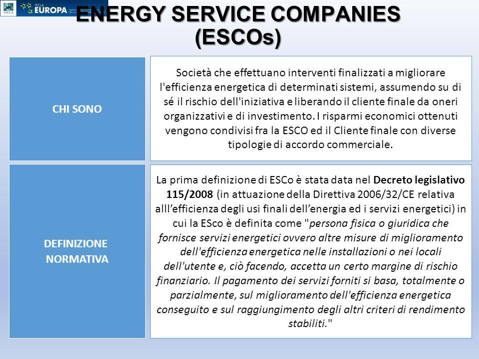 ENERGY SERVICE COMPANIES (ESCOs) DEFINIZIONE NORMATIVA CHI SONO Società che effettuano interventi finalizzati a migliorare l'efficienza energetica di