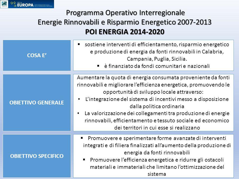 Programma Operativo Interregionale Programma Operativo Interregionale Energie Rinnovabili e Risparmio Energetico 2007-2013 POI ENERGIA 2014-2020 OBIET