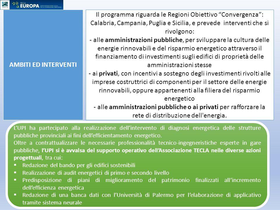 """AMBITI ED INTERVENTI Il programma riguarda le Regioni Obiettivo """"Convergenza"""": Calabria, Campania, Puglia e Sicilia, e prevede interventi che si rivol"""
