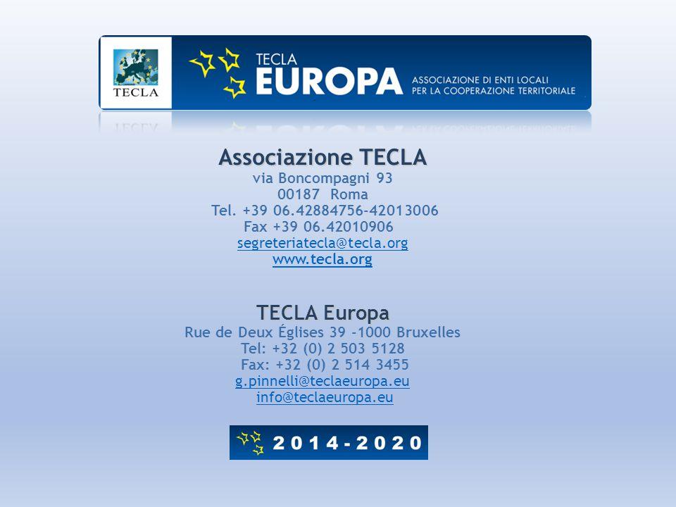 Associazione TECLA via Boncompagni 93 00187 Roma Tel. +39 06.42884756-42013006 Fax +39 06.42010906 segreteriatecla@tecla.org www.tecla.org TECLA Europ