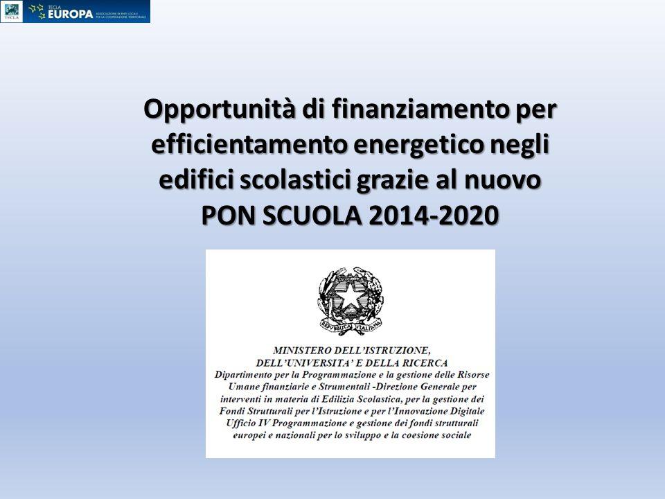 Opportunità di finanziamento per efficientamento energetico negli edifici scolastici grazie al nuovo PON SCUOLA 2014-2020