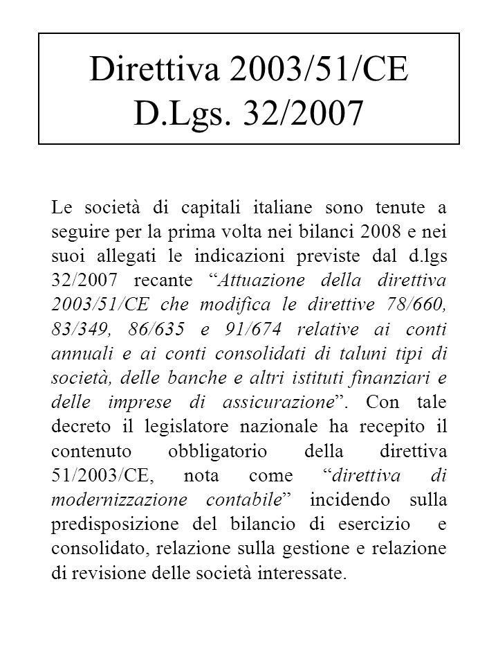 Le società di capitali italiane sono tenute a seguire per la prima volta nei bilanci 2008 e nei suoi allegati le indicazioni previste dal d.lgs 32/2007 recante Attuazione della direttiva 2003/51/CE che modifica le direttive 78/660, 83/349, 86/635 e 91/674 relative ai conti annuali e ai conti consolidati di taluni tipi di società, delle banche e altri istituti finanziari e delle imprese di assicurazione .