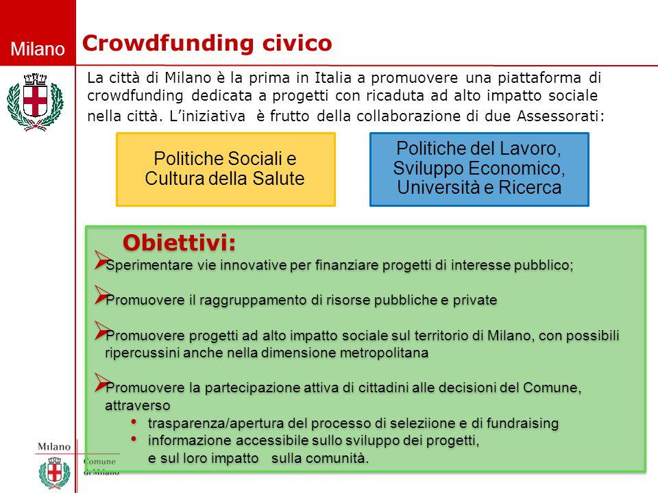 Milano Crowdfunding civico La città di Milano è la prima in Italia a promuovere una piattaforma di crowdfunding dedicata a progetti con ricaduta ad al