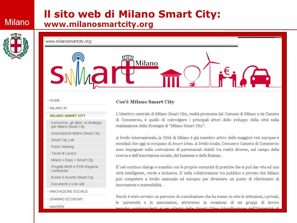 Milano Smart City: il processo di partecipazione  le 7 linee di indirizzo  l'Associazione Milano Smart City  lo Smart city lab  i 14 progetti MIUR/POR