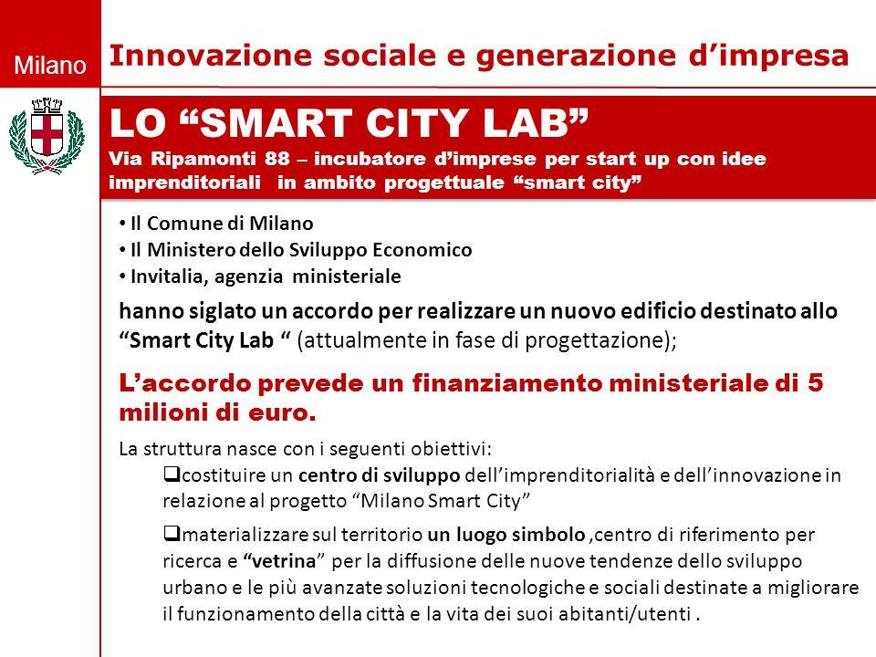 """Milano LO """"SMART CITY LAB"""" Via Ripamonti 88 – incubatore d'imprese per start up con idee imprenditoriali in ambito progettuale """"smart city"""" LO """"SMART"""