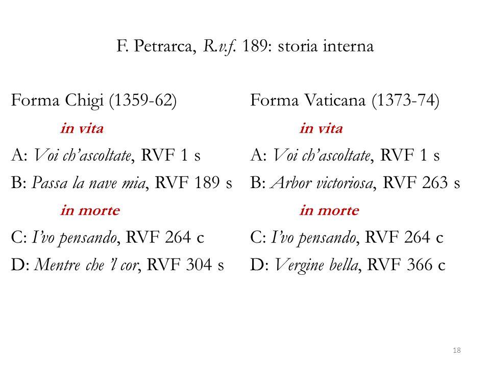 F. Petrarca, R.v.f. 189: storia interna Forma Chigi (1359-62) in vita A: Voi ch'ascoltate, RVF 1 s B: Passa la nave mia, RVF 189 s in morte C: I'vo pe