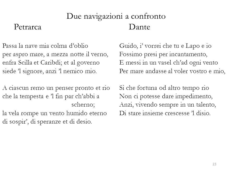 Due navigazioni a confronto PetrarcaDante Passa la nave mia colma d'oblio per aspro mare, a mezza notte il verno, enfra Scilla et Caribdi; et al gover