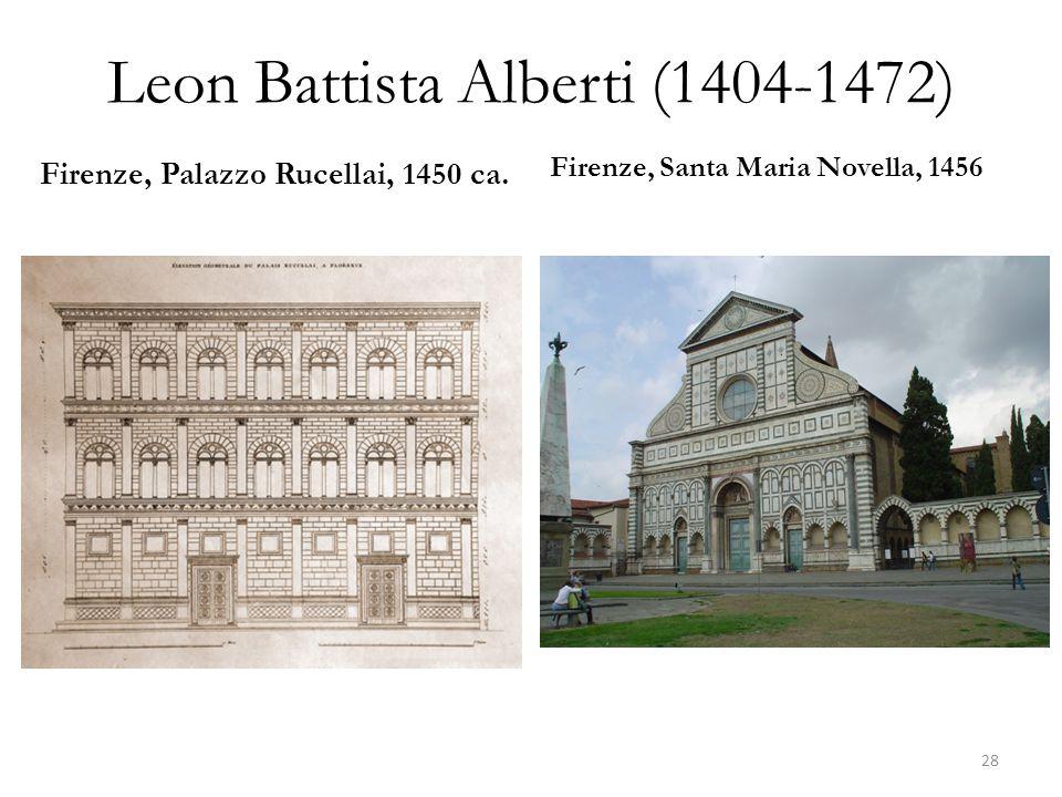 Leon Battista Alberti (1404-1472) Firenze, Palazzo Rucellai, 1450 ca. Firenze, Santa Maria Novella, 1456 28