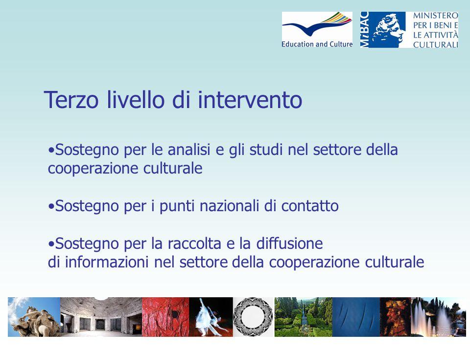 Terzo livello di intervento Sostegno per le analisi e gli studi nel settore della cooperazione culturale Sostegno per i punti nazionali di contatto Sostegno per la raccolta e la diffusione di informazioni nel settore della cooperazione culturale