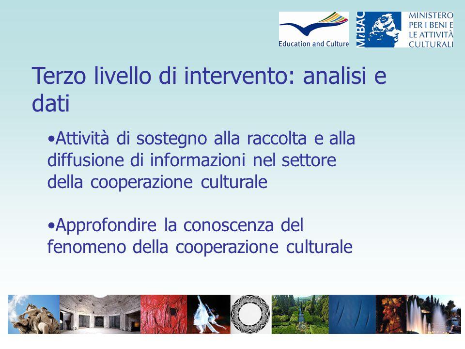 Terzo livello di intervento: analisi e dati Attività di sostegno alla raccolta e alla diffusione di informazioni nel settore della cooperazione culturale Approfondire la conoscenza del fenomeno della cooperazione culturale