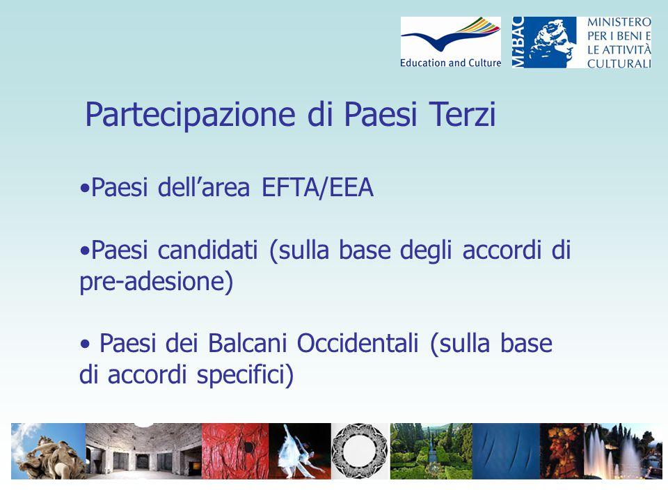 Partecipazione di Paesi Terzi Paesi dell'area EFTA/EEA Paesi candidati (sulla base degli accordi di pre-adesione) Paesi dei Balcani Occidentali (sulla base di accordi specifici)