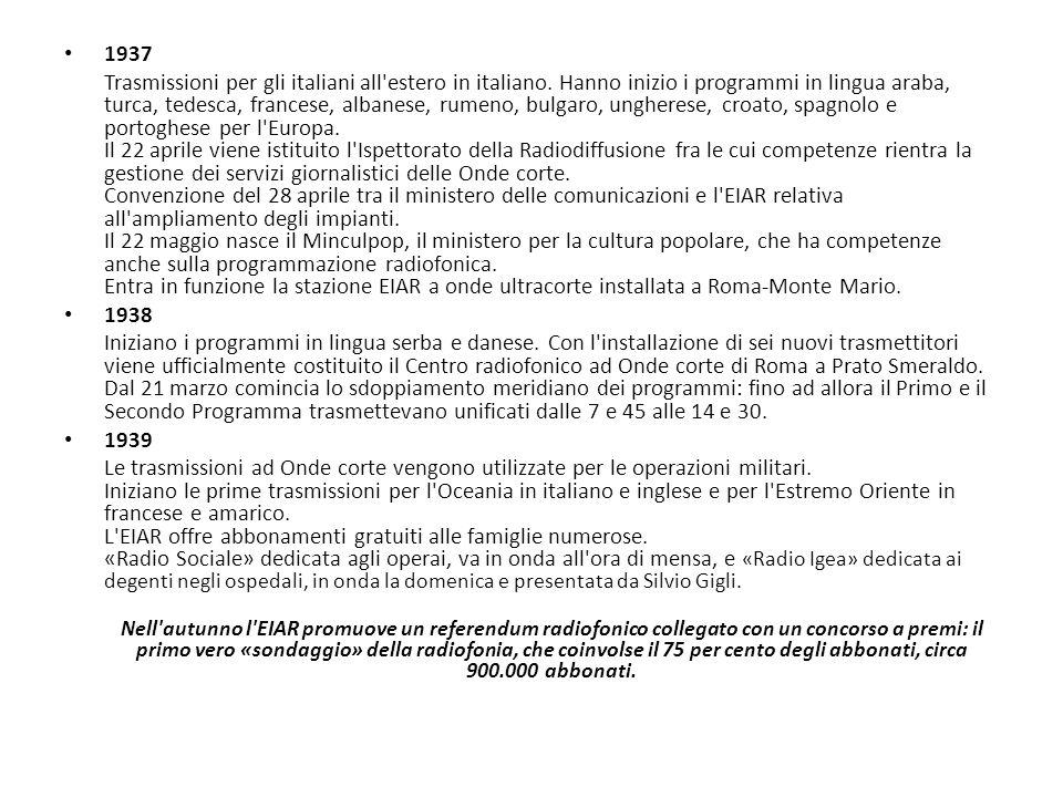 1937 Trasmissioni per gli italiani all'estero in italiano. Hanno inizio i programmi in lingua araba, turca, tedesca, francese, albanese, rumeno, bulga
