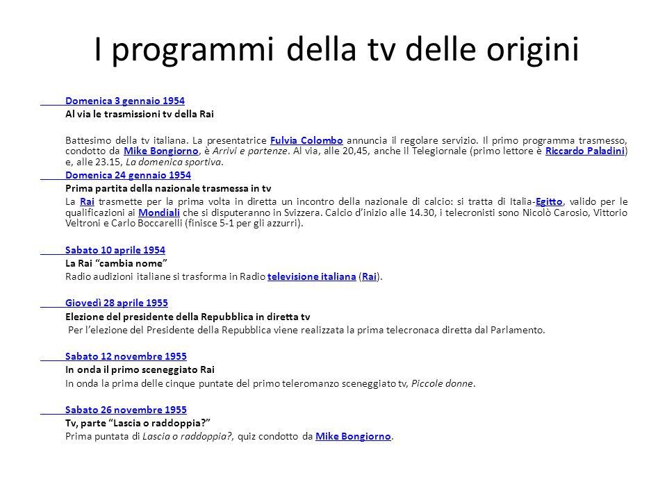 I programmi della tv delle origini Domenica 3 gennaio 1954 Al via le trasmissioni tv della Rai Battesimo della tv italiana. La presentatrice Fulvia Co
